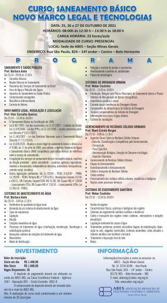 CURSO SANEAMENTO BÁSICO NOVO MARCO LEGAL E TECNOLOGIAS