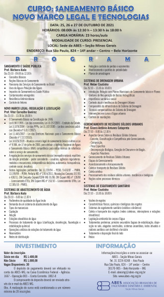 curso saneamento básico novo marco legal e tecnologias abes-mg