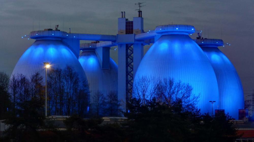 Biodigestor utilizado no tratamento de efluentes da cidade de Hamburg na Alemanha