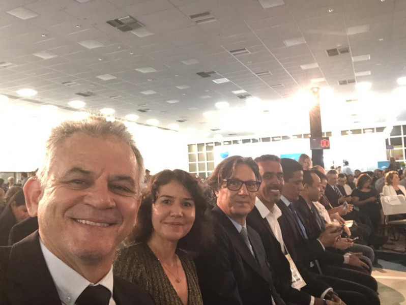 Presidente da ABES-MG Rogério Siqueira, Pegge Sayonara, Márcio Pedrosa abertura 30º CBESA
