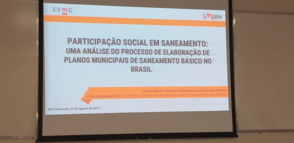 Estudo sobre participação social na elaboração dos planos de saneamento é apresentado para a camara de resíduos solidos da ABES-MG