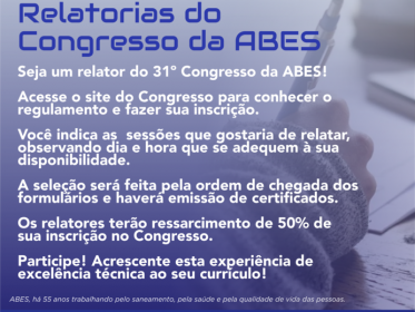 SEJA UM RELATOR DO CONGRESSO DA ABES
